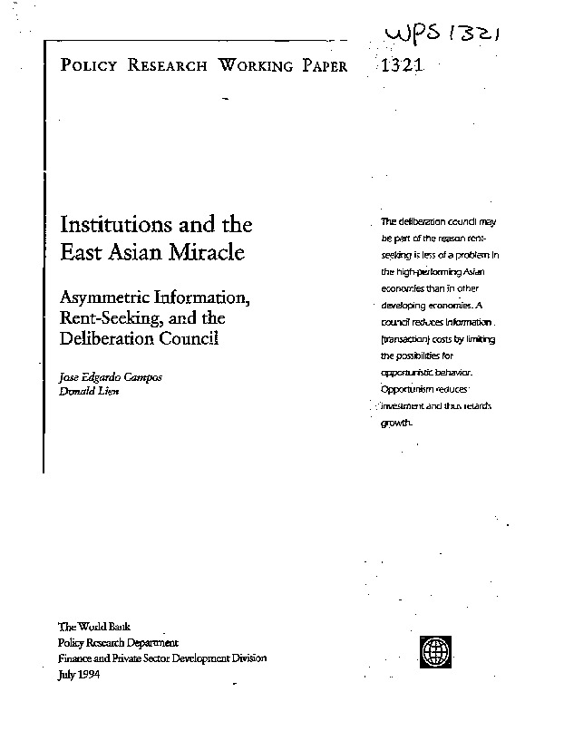 World Bank - Institutions and the East Asian miracle (1994)
