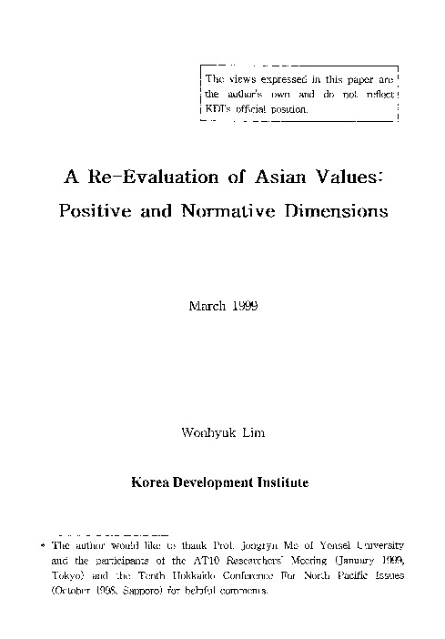 A Re-Evaluation of Asian Values : Positive and Normative Dimensions
