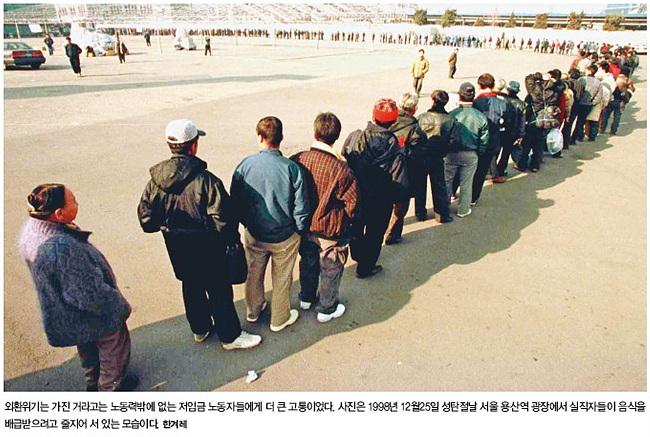 1998년 성탄절 아침 용산역 광장. 실직자들이 무료급식을 이용하기 위해 줄 서 있는 모습