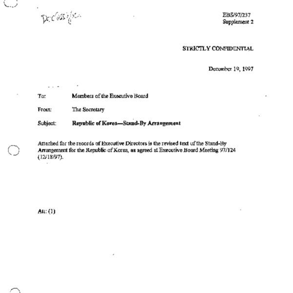 EBS 97.237 Supplement 2 Republic of Korea - Stand-By Arrangement