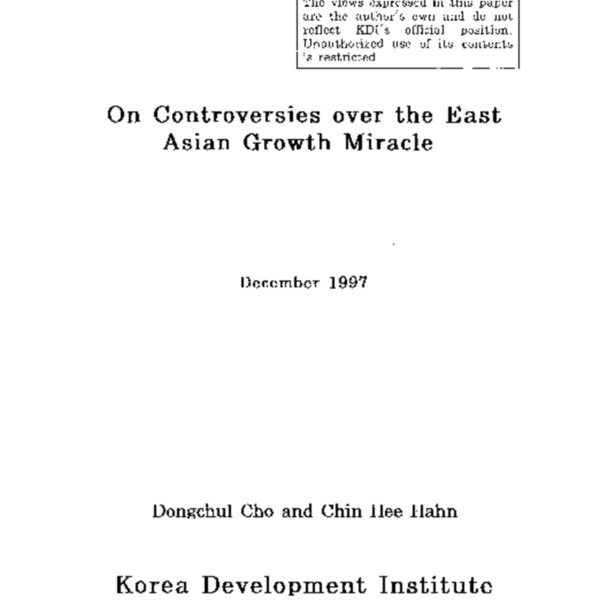On Controversies over the East Asian Growth Miracle
