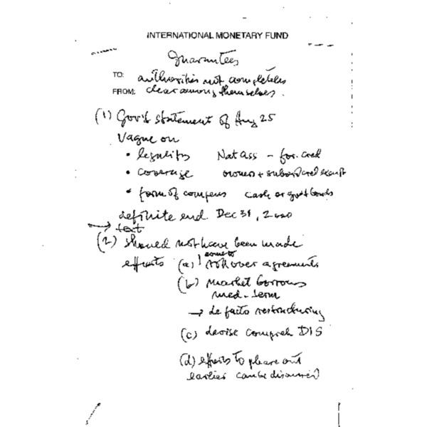 hand-written memo on guarantees etc.