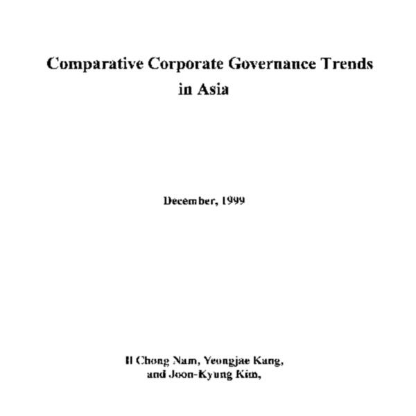 Comparative Corporate Governance Trends in Asia
