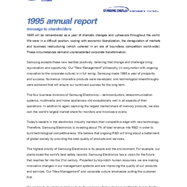 Samsung Electronics Annual Report 1995