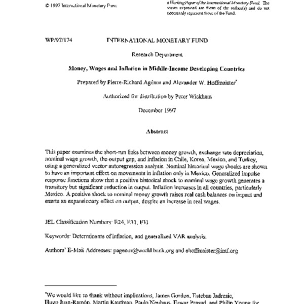 WP 97.174 Money, Wages and Inflation in Middle-Income Developing Countries