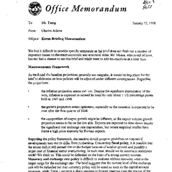 Korea-Briefing Memorandum