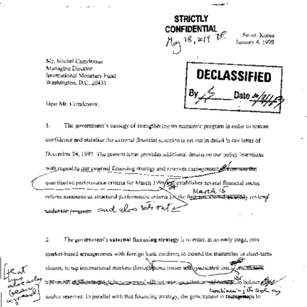 Hand tipped memos on the LOI from Korea