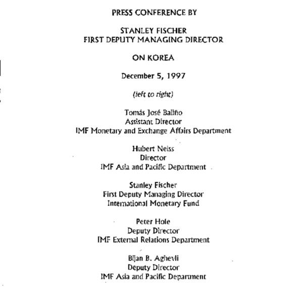Press Conference By Stanley Fischer (hand-written memo)