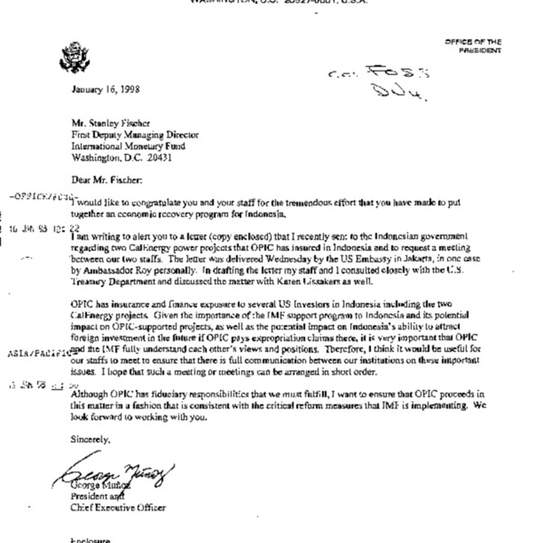 Letter to Fischer on CalEnergy project of OPIC and Indonesia