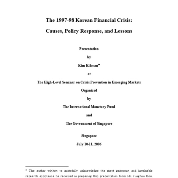 Kim, Ki-Hwan - The 1997-98 Korean Financial Crisis (2006)