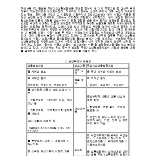 노동자 계급의 복지정치 3 - 국민기초생활보장법 시행을 둘러싼 논쟁 (2000.7)
