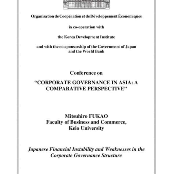 Fukao, Mitsuhiro - Japanese Financial Instability and Weaknesses in the Corporate Governance Structure