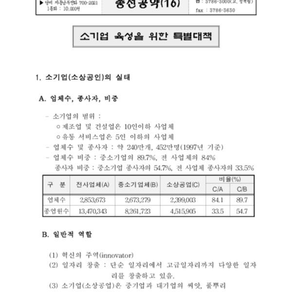한나라당 4.13총선 공약 - 소기업 육성태책