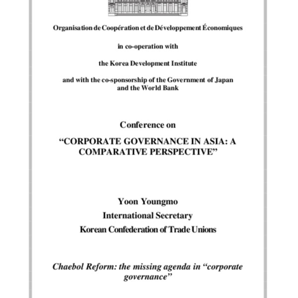 Yoon, Youngmo - Chaebol Reform-Missing Agenda in _Corporate Governance_ (KCTU)