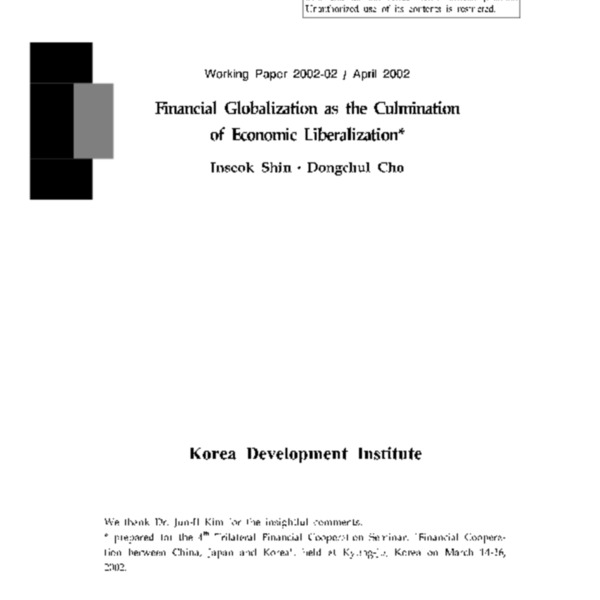 Shin and Cho - Financial Globalization as the Culmination of Economic Liberalization [KDI 2002]