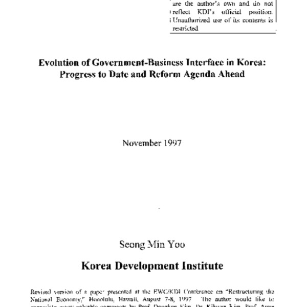 Evolution of Government-Business Interface in Korea : Progress to Date and Reform Agenda Ahead