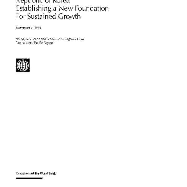 World Bank - Korea - Establishing a new foundation for sustained growth (1999)