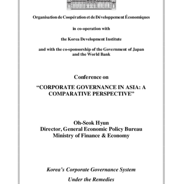 Hyun, Oh-Seok - Korea's Corporate Governance System Under the Remedies (MOFE)