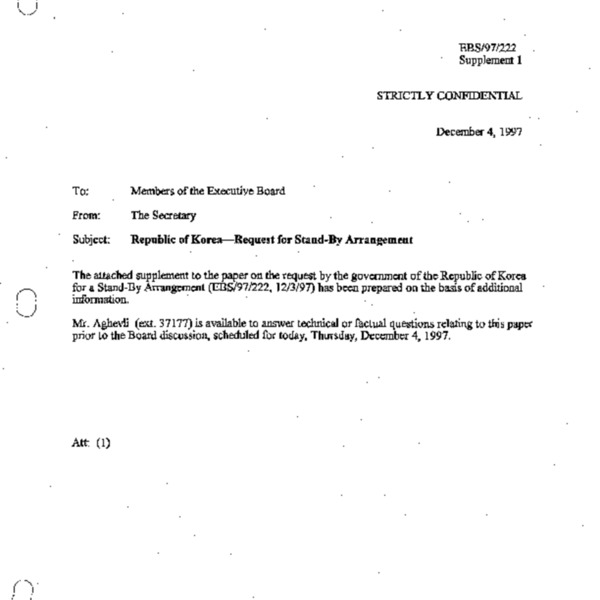 EBS 97.222 Supplement 1 Republic of Korea - Request for Stand-By Arrangement