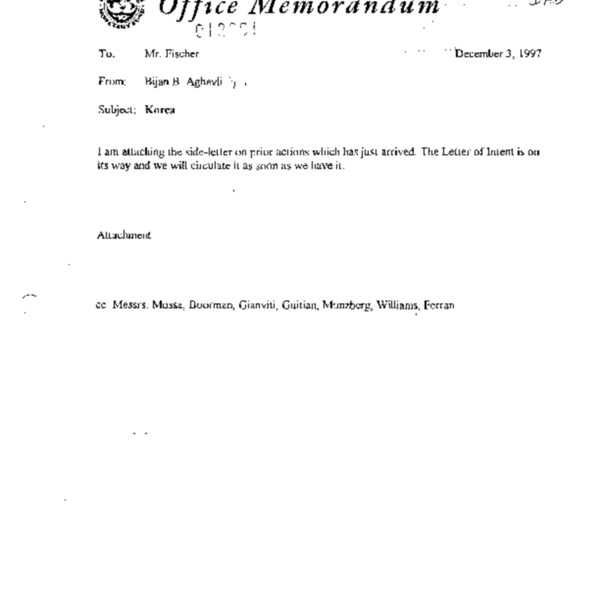 Korea - side-letter on prior actions (attachment confidential)