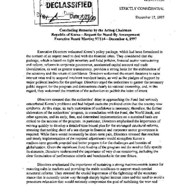 BUFF/97/120 Concluding Remarks by the Acting Chairman Republic of Korea-Request for Stand-By Arrangement Executive Board Meeting 97/116-December 4, 1997