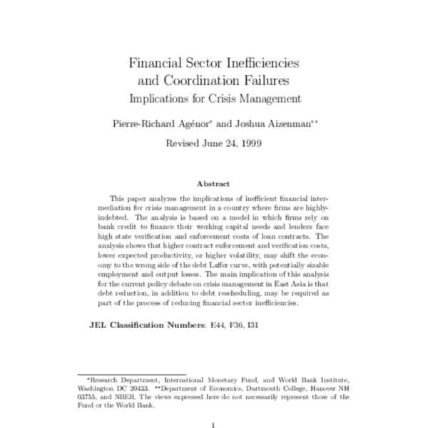 Financial Sector Inefficiencies and Coordination Failures Implications for Crisis Management (WB Policy Research Working Paper 2185)