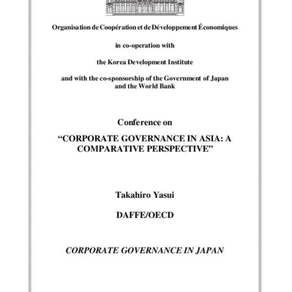 Yasui, Takahiro - Corporate Governance in Japan