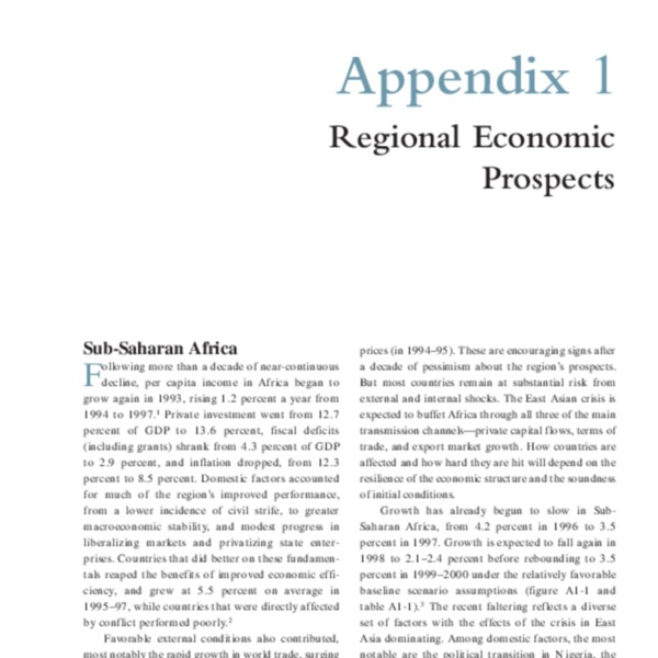 Global Economic Prospects for Developing Countries 1998-99 Beyond Financial Crisis [Appendices]