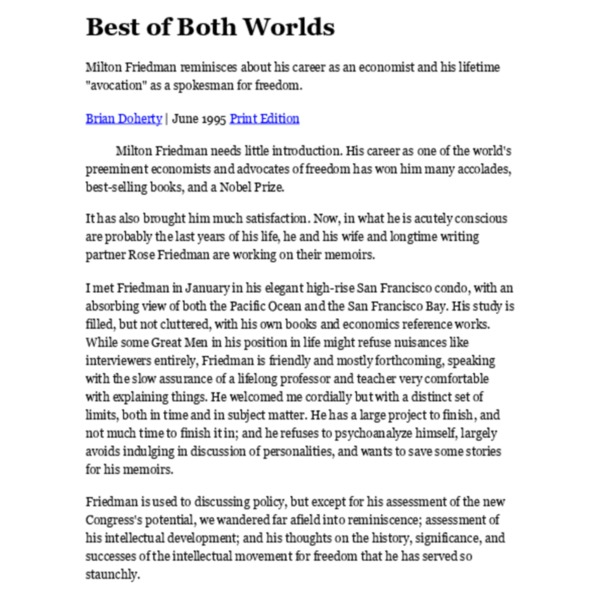 Doherty, B - Best of Both Worlds Interview with Milton Friedman [Reason 1995.06]