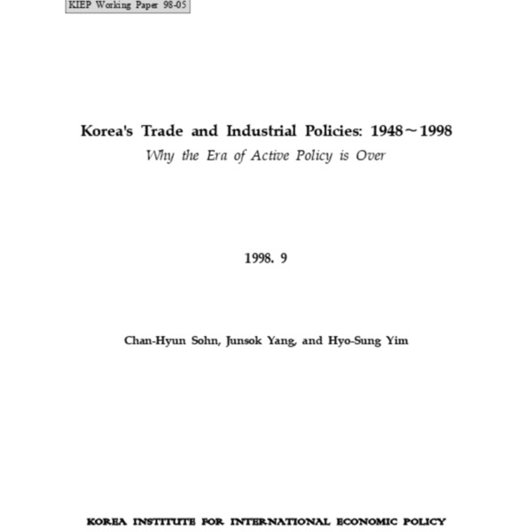 Sohn, Chan-Hyun et al - Korea_s Trade and Industrial Policies 1948-1998 (KIEP 1998.9)