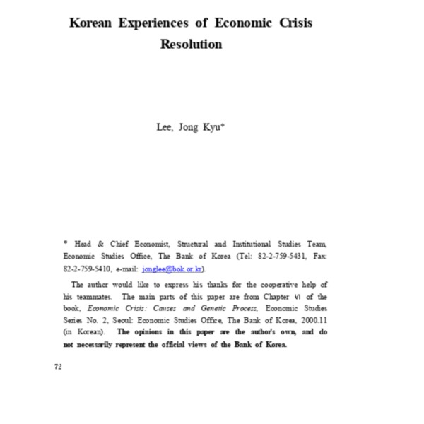 Korean Experience of Economic Crisis Resolution