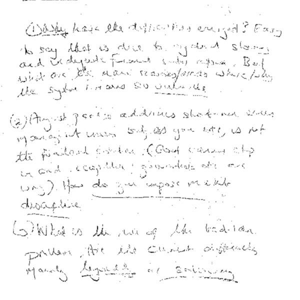 hand-written memo (Questions)