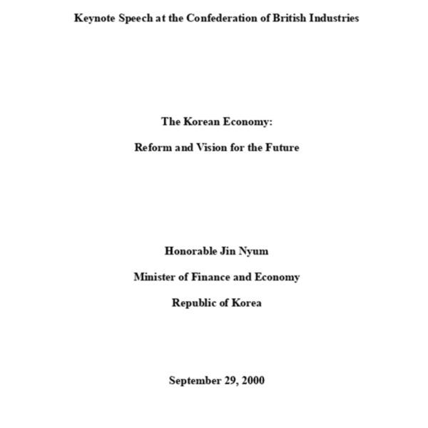 영국경제인연합회 주최 한국경제설명회 재경부장관 연설문 요지 (2000-10-02)