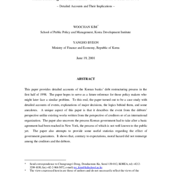 Kim and Byeon - Restructuring Korean Banks_ Short-Term Debts in 1998 (2002) SSRN-id600223