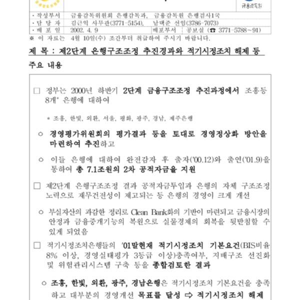 금감위 - 2단계은행구조조정[2002.4.10조간]