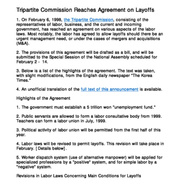 Tripartite Agreement on Layoffs (98.2.6)