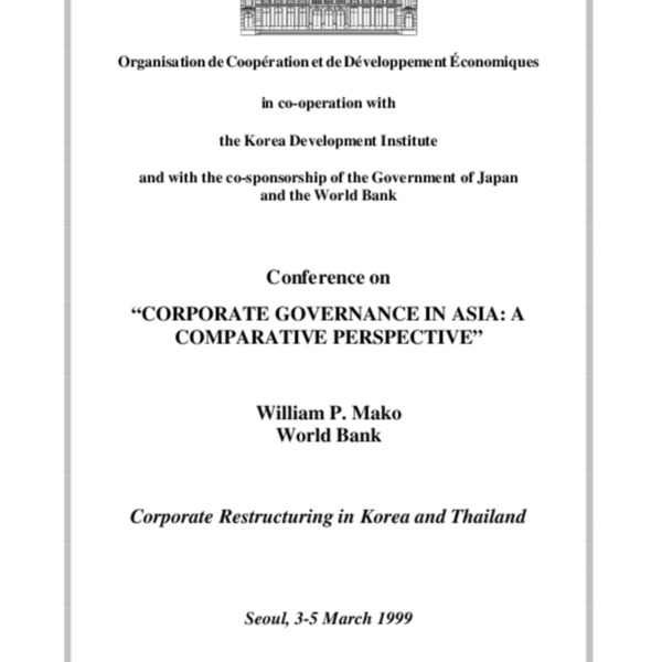 Mako, William - Corporate Restructuring in Korea and Thailand Discussion Outline