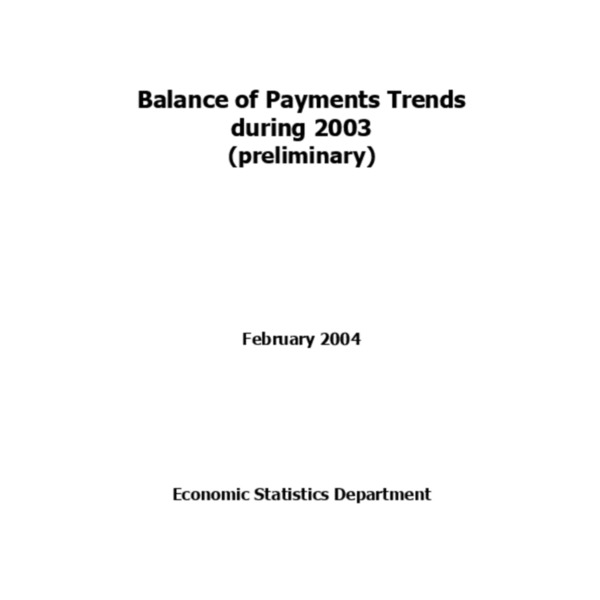 Bank of Korea - Balance of Payments 2003 (20040304)