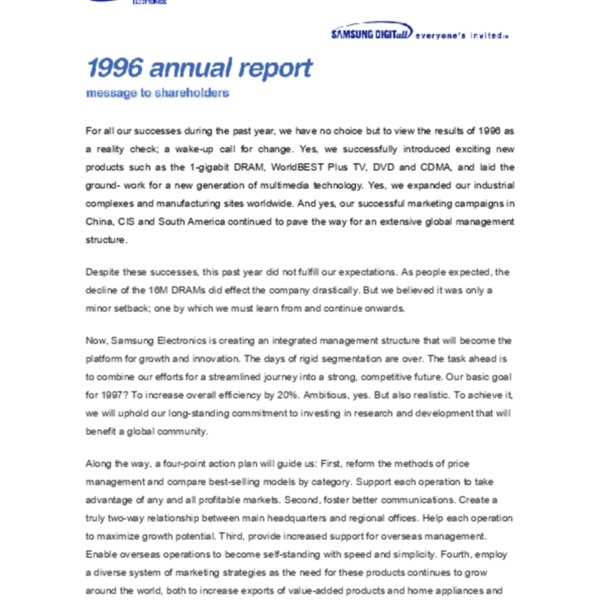 Samsung Electronics Annual Report 1996