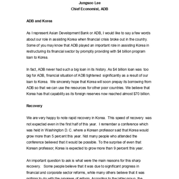 Jungsoo Lee, ADB - Comments Remaining Agenda
