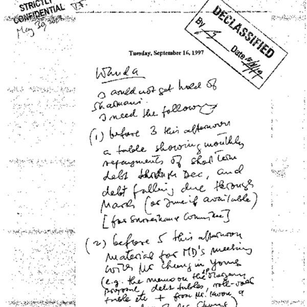 Letter to Wanda Tseng on asking materials