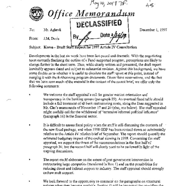 Korea-Draft Staff report for 1997 Article IV Consultation