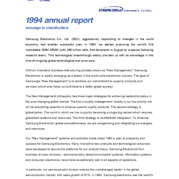 Samsung Electronics Annual Report 1994