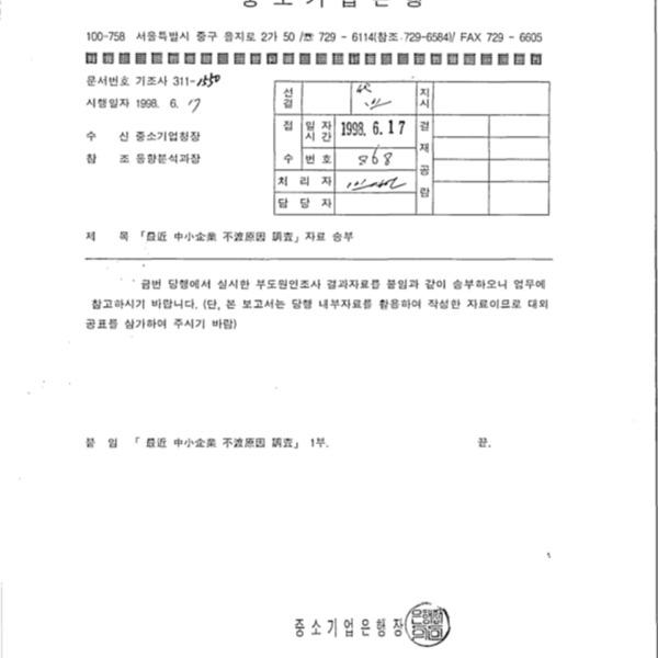 최근 중소기업 부도원인 조사자료 송부