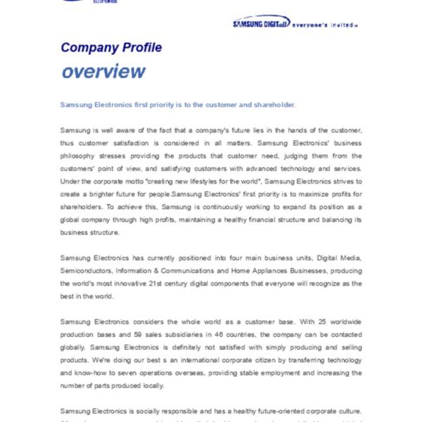 Samsung Electronics Corporate Info